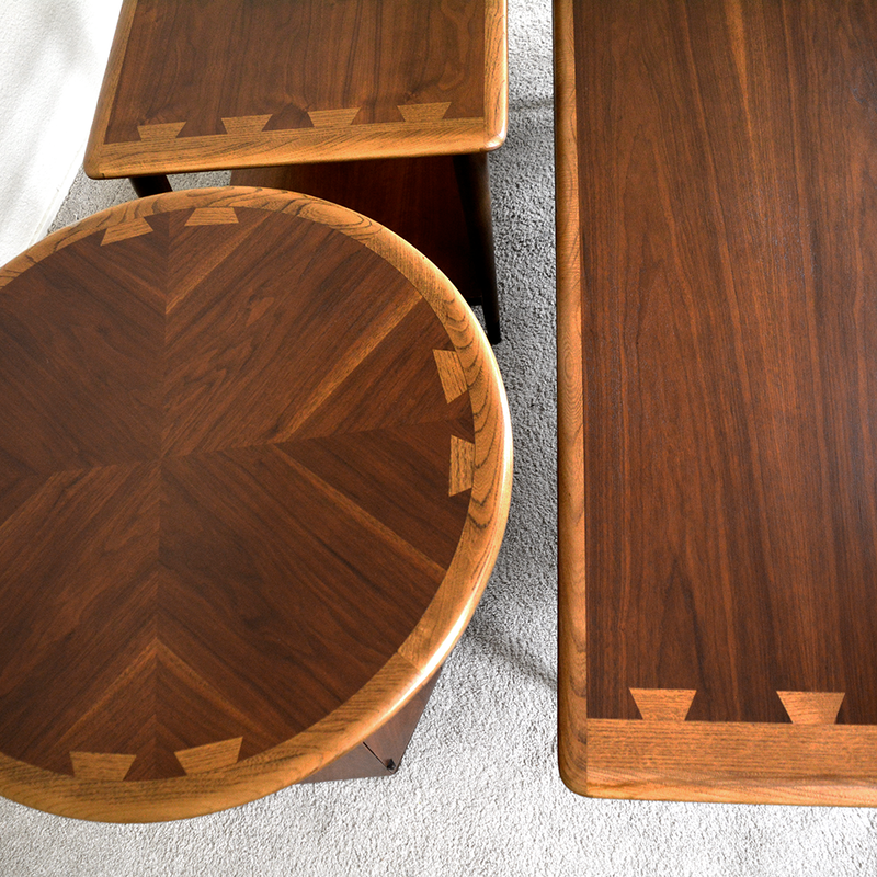 Set of 3 Mid Century Lane Acclaim Dark Walnut Coffee Table and Side Tables by Andre Bus las vegas