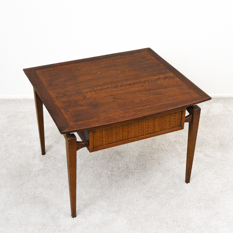"​1960s Lane ""Esteem"" Side Table with Cane Front Drawer by Andre Bus las vegas"