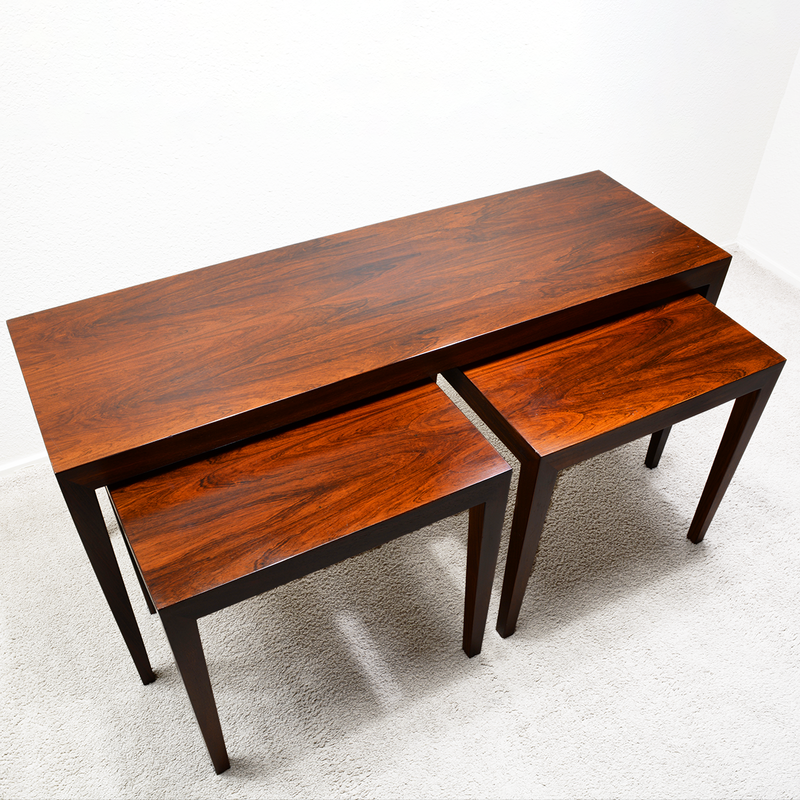 Mid Century Danish Rosewood Nesting Tables by Severin Hansen for Haslev las vegas