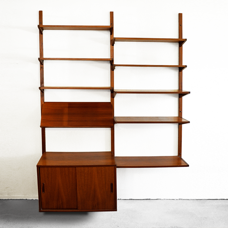 Mid Century Cado Style Wall Mounted Walnut Modular Shelving Wall Unit las vegas