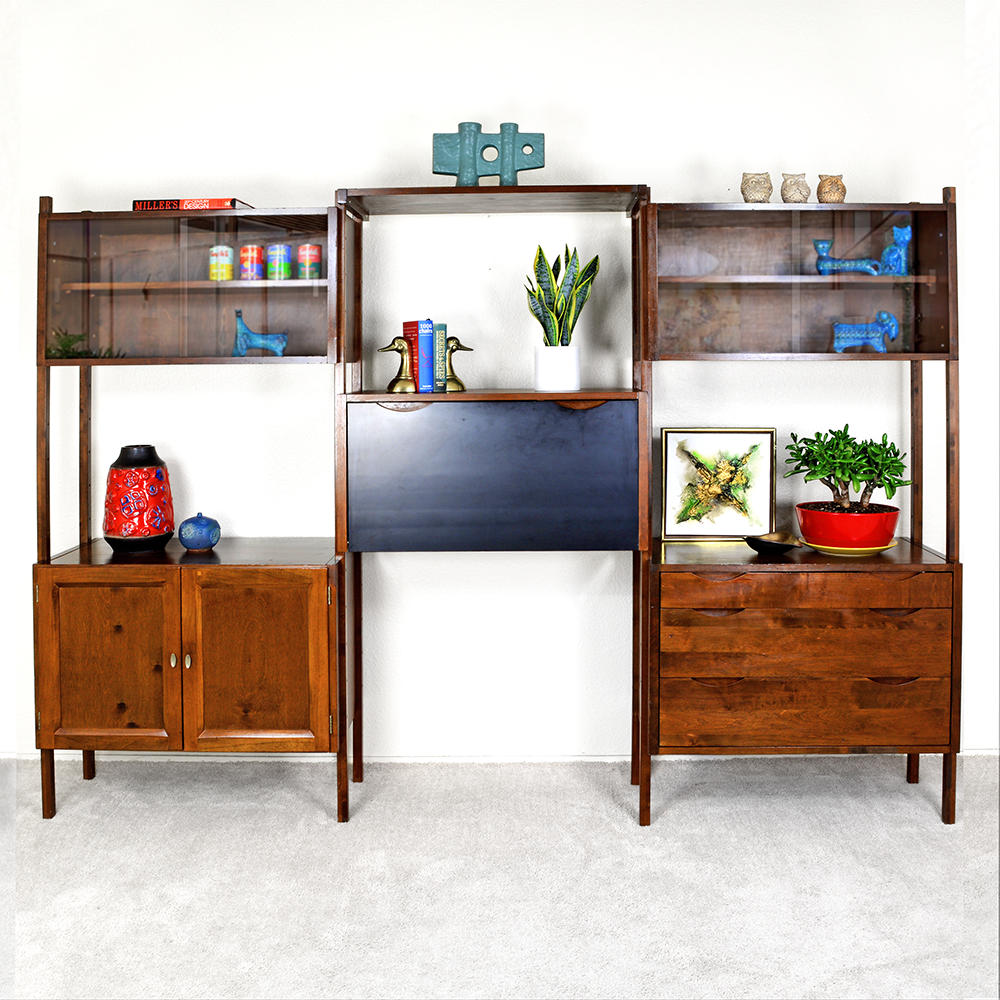 Mid Century ​Danish 3 Bay Freestanding Wall Unit by Noral Olson for Kopenhavn las vegas